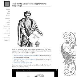 "The ""Write an Excellent Programming Blog"" Page"