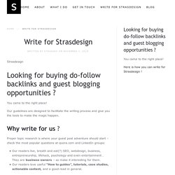 Write for Strasdesign - Strasdesign