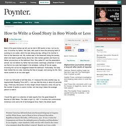How to Write a Good Story in 800 Words or Less