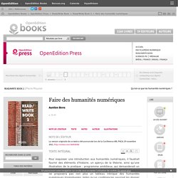 Read/Write Book 2 - Faire des humanités numériques