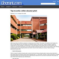 Tips to write a killer elevator pitch