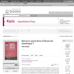 Read/Write Book - Qu'est-ce qu'un livre à l'h... - Hubert Guillaud - OpenEdition Press