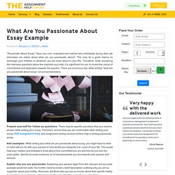 How to write what are you passionate about essay