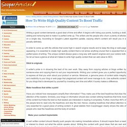 How To Write High Quality Content To Boost Traffic