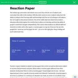 Buy Reaction Paper Written from Scratch
