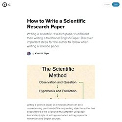 How to Write a Scientific Research Paper: Key Points for Writing a Science Paper or Medical Article