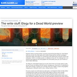 The write stuff: Elegy for a Dead World preview