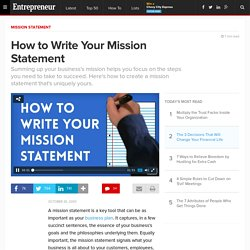 How to Write Your Mission Statement