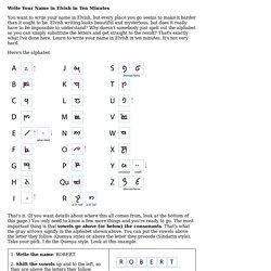 Write Your Name in Elvish in Ten Minutes - StumbleUpon