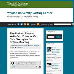 The Podcast Returns! WriteCast Episode #5: Five Strategies for Critical Reading