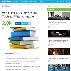 WRITER'S TOOLBOX: 35 Best Tools for Writing Online
