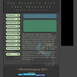Fiction writers storyline and plot idea generator