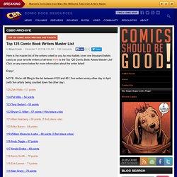 Top 125 Comic Book Writers Master List | Comics Should Be Good @ CBR