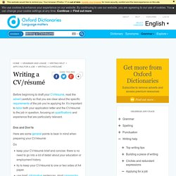 Writing a CV/résumé