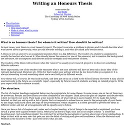 Writing an Honours Thesis