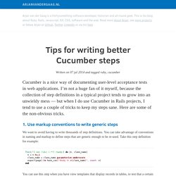 Tips for writing better Cucumber steps by Arjan van der Gaag