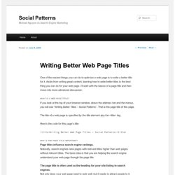 Writing Better Web Page Titles