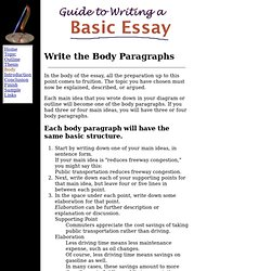 writing body paragraphs your essay A classic format for compositions is the five-paragraph essay it is not the only format for writing an essay the reader to the first paragraph of the body of.