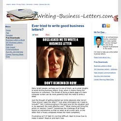 Writing Business Letters.com Advice, Template & Samples of Business Letter