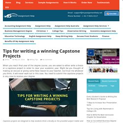 Tips for writing a winning Capstone Projects