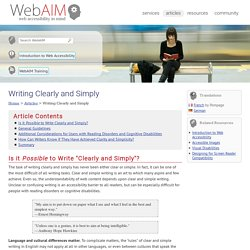 Writing Clearly and Simply