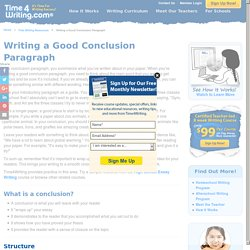 Writing a Good Conclusion Paragraph