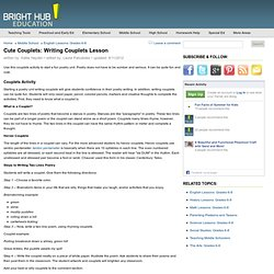 Lesson Plan on Writing Rhyming Couplets for Teaching Couplets