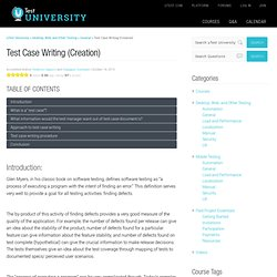 Test Case Writing (Creation) 101