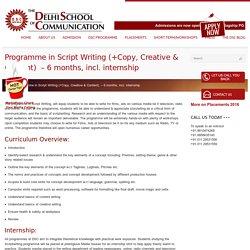 Script Writing - Copy, Creative, Content Short Term Course - DSC