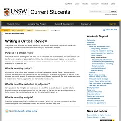 Writing a Critical Review