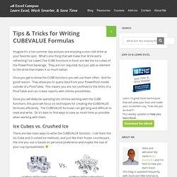 Tips & Tricks for Writing CUBEVALUE Formulas - Excel Campus