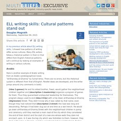 ELL writing skills: Cultural patterns stand out