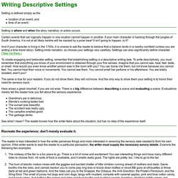 Writing Descriptive Settings