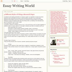 Essay Writing World: 4 Different Styles of Citing a Research Paper