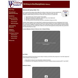 Writing in the Disciplines: History