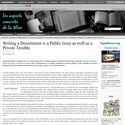Writing a Dissertation is a Public Issue as well as a Private Trouble