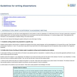Writing dissertations and thesis
