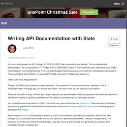 Writing API Documentation with Slate