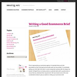Writing a Good Ecommerce Website Development Brief