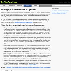 Writing tips for Economics assignment