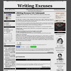 writing excuses podcast The writing excuses podcast featuring authors brandon sanderson, dan wells, mary robinette kowal and cartoonist howard tayler is aimed at those who want to write.