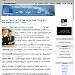 Writing Executive Summaries the Case Study Way : White Paper Pundit