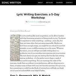 lyric writing exercises Boundaries: lyric writing exercises for finding your voice songwriting: lyric and melody writing for beginners: how to become a songwriter in 24 hours or less.