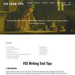 Writing — FCE Exam Tips