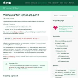 Writing your first Django app, part 1