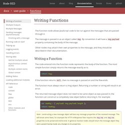 Writing Functions : Node-RED