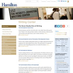 Seven Sins of Writing - Seven Deadly Sins of Writing - Hamilton College