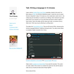 The If Works - Talk: Writing a language in 15 minutes