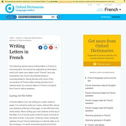 Writing Letters in French