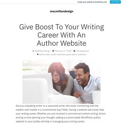 Give Boost To Your Writing Career With An Author Website